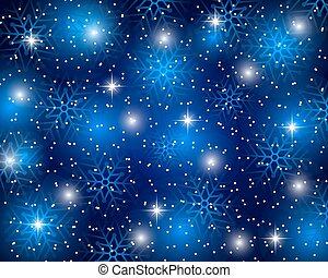azul, snowflakes, vetorial, natal, fundo