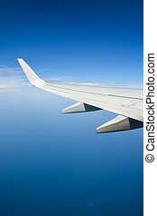 azul, sobre, céu, asa, avião