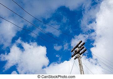 azul, sobre, céu, polaco, telégrafo, fundo