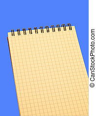 azul, sobre, caderno, fundo amarelo