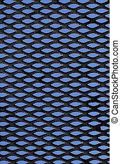 azul, sobre, grade metal, fundo, pretas