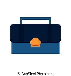 azul, sobre, ilustração, vetorial, fundo amarelo, toolbox, branca