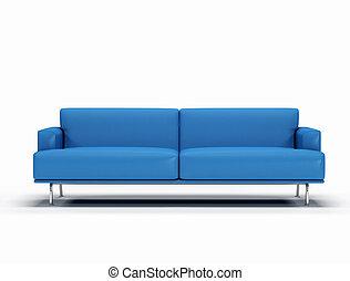 azul, sofá couro, branco, fundo, -, digital, artwork