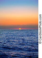 azul, sol, amanhecer, mar, horizonte