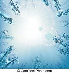 azul, sol, céu, árvore, brilho