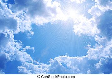 azul, sol, céu brilhante