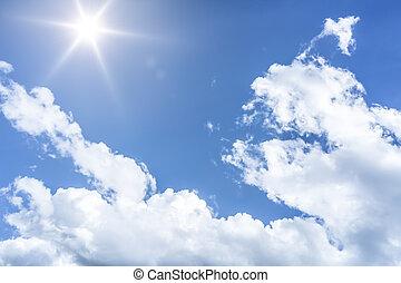 azul, sol, céu, fundo