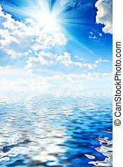azul, sol, céu, mar, beautyful