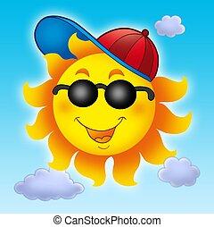 azul, sol, gorra, cielo, caricatura