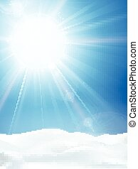 azul, sol inverno, céu claro, neve, luminoso, paisagem