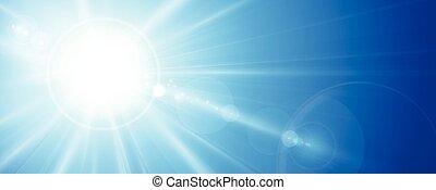 azul, sol, lente, céu, chama