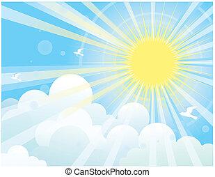 azul, sol, natureza, raios, sky.