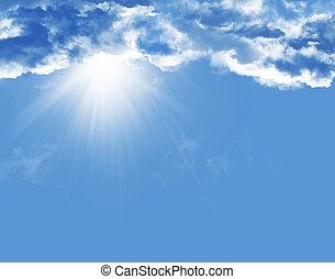 azul, sol, nubes, cielo