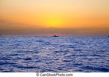 azul, sol, salida del sol, mar, horizonte