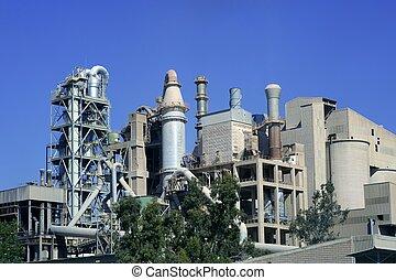 azul, soleado, fábrica, cemento, día, vista