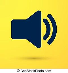 azul, som, áudio, mídia, -, isolado, amarela, símbolo, volume, experiência., vetorial, orador, ilustração, música, voz, ícone