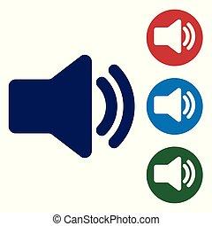 azul, som, áudio, mídia, -, isolado, ilustração, símbolo, volume, experiência., vetorial, orador, música, branca, voz, ícone