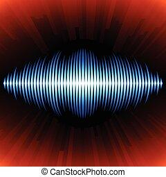 azul, som, waveform