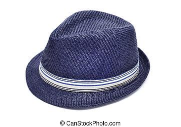 azul, sombrero de paja