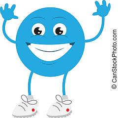 azul, sorrindo, sujeito