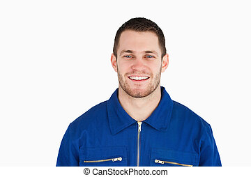 azul, sorrindo, trabalhador, jovem, colarinho