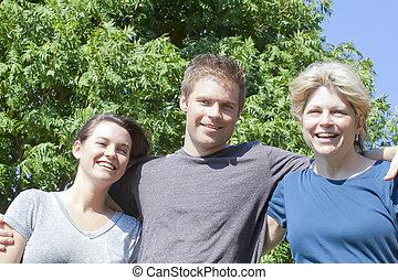 azul, sorrir feliz, família, sob