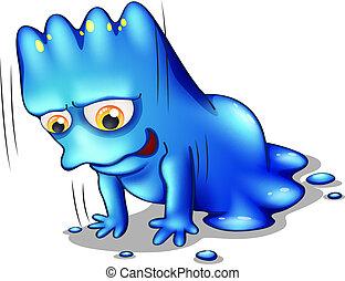 azul, sozinha, monstro, exercitar