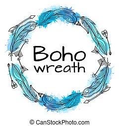 azul, splashes., elements., patrón, tribal, guirnalda,...