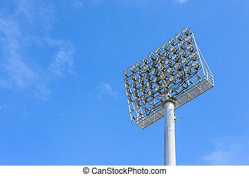 azul, spot-light, torre, céu, estádio