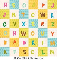 azul, square., alfabeto, pattern., seamless, vector, fondo verde, polca, naranja, z, punto