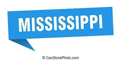azul, sticker., misisipí, indicador, señal, poste indicador