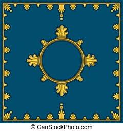 azul, style., dorado, patrón, clásico