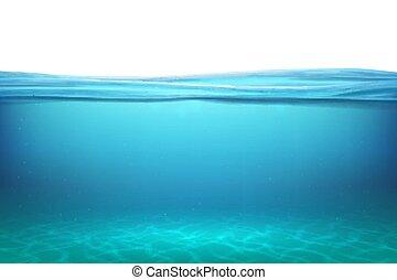 azul, submarinas, natural, horizonte, relaxe, piscina, sol, limpo, fundo, lago, ilustração, vetorial, superfície, fundo, mar, sob, surfaces., rays., vista