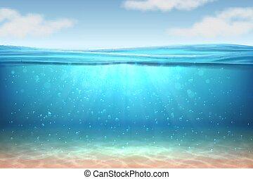 azul, submarinas, raios, realístico, sol, nível, horizon., profundo, água oceano, experiência., conceito, vetorial, água, mar, sob, onda, superfície, 3d