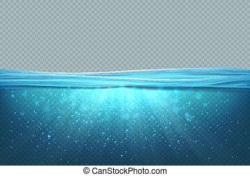 azul, submarinas, superfície, realístico, concept., lago,...