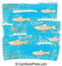 azul, submarino, viejo, papel, plano de fondo, peces, grunge