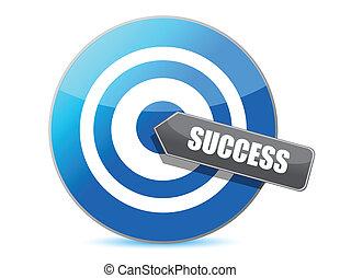 azul, sucesso, alvo, ilustração