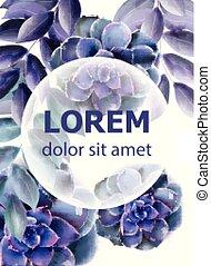 azul, suculento, flor, primavera, vetorial, aquarelas, cartão