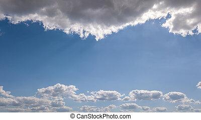 azul, sunbeams., nuvens, quadro, céu, space., fundo, natural, branca, cópia