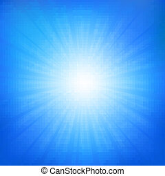 azul, sunburst, céu