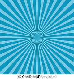 azul, sunburst, estilo, fundo
