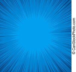 azul, sunburst, fundo