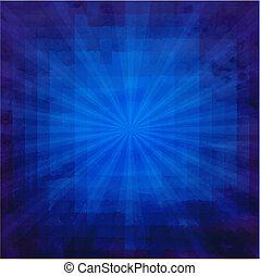 azul, sunburst, grunge, textura