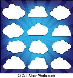 azul, sunburst, jogo, nuvens