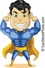 azul, super, forte, herói