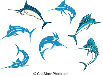 azul, swordfishes, o, caracteres, marlins, caricatura