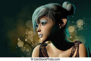 azul, sylph, retrato, 3d, cg