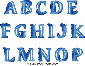azul, symbols., alfabeto, aquarela, vetorial, números, manuscrito