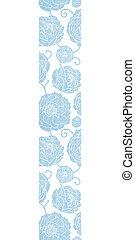 azul, têxtil, peony, flores, vertical, borda, seamless, padrão, fundo