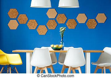 azul, tabla, real, pared
